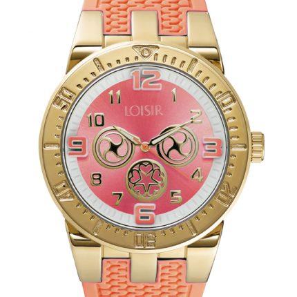 Γυναικείο ρολόι LOISIR 11L75-00098 με σομόν καουτσούκ λουράκι
