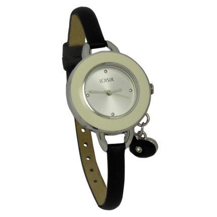 Γυναικείο ρολόι LOISIR 11L06-00325 με μαύρο δερμάτινο λουράκι