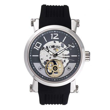 Unisex ρολόι OXETTE 11X07-00278 με μαύρο καουτσούκ λουράκι
