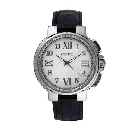 Ρολόι OXETTE 11X06-00452 γυναικείο με μαύρο δερμάτινο λουράκι