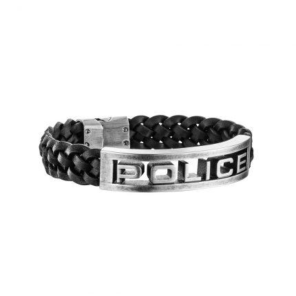 Stamp - Police - Βραχιολι Δερματινο Μαυρο με Ανοξειδωτο Ατσαλι σε Αντικε Χρωμα