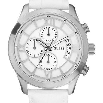 Guess W12101G1 Ρολόι unisex ΧΡΟΝΟΓΡΑΦΟΣ ΜΕ ΛΕΥΚΟ ΛΟΥΡΑΚΙ ΔΕΡΜΑΤΙΝΟ