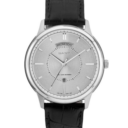 HUDSON - W10932 - Ρολογια Gant Time - ΑΝΟΞΕΙΔΩΤΟ ΑΤΣΑΛΙ ΜΕ ΜΑΥΡΟ ΔΕΡΜΑΤΙΝΟ ΛΟΥΡΑΚΙ