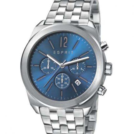 Es Dylan Chrono - Ρολογια Ανδρικα Φθηνα - ES107571004 - Esprit - Silver Blue - Ανδρικο Χρονογραφος Ανοξειδωτο Ατσαλι με Μπρασελε