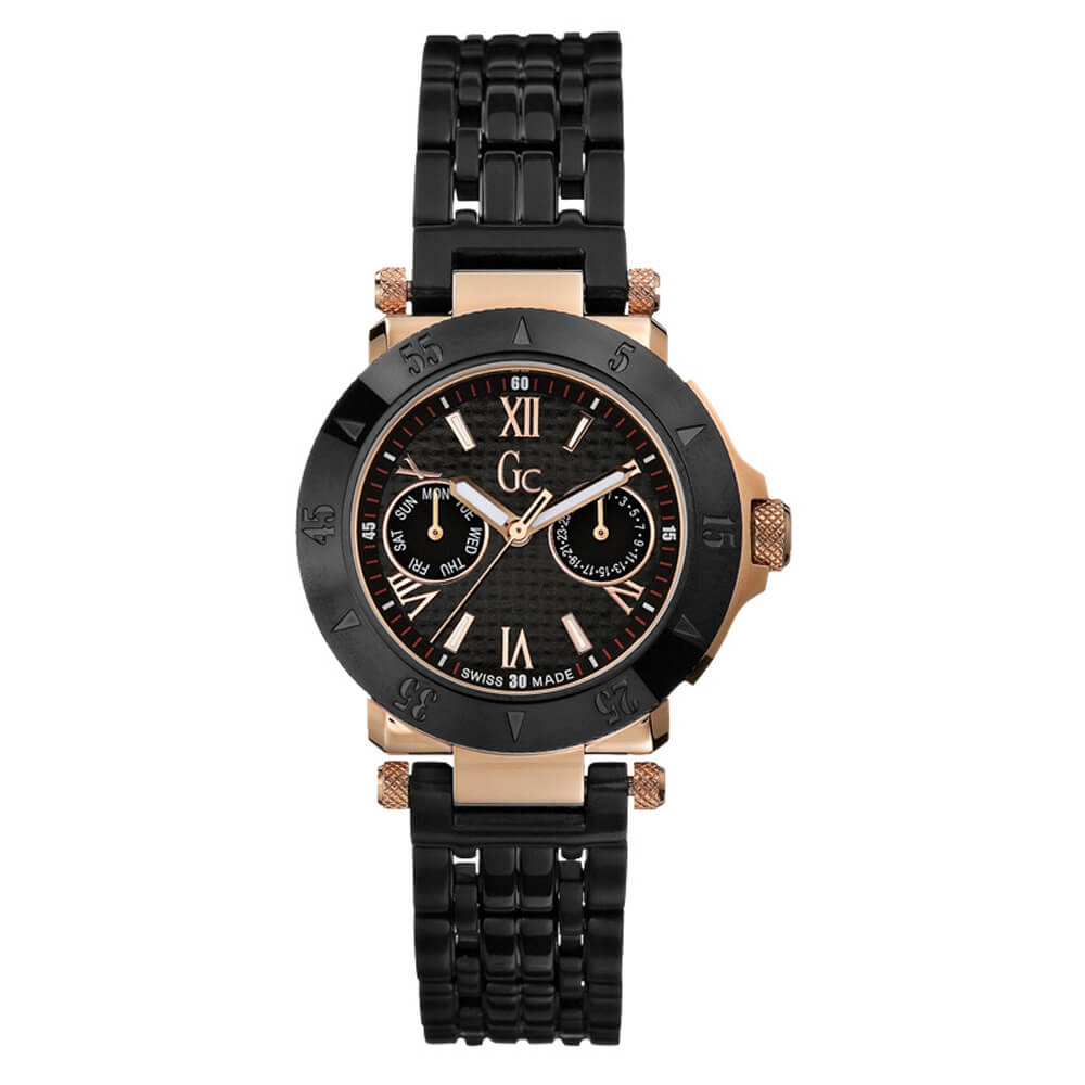 Ladies Watch Guess Collection I45502l1 Gc In Rose Gold Black Bracelet