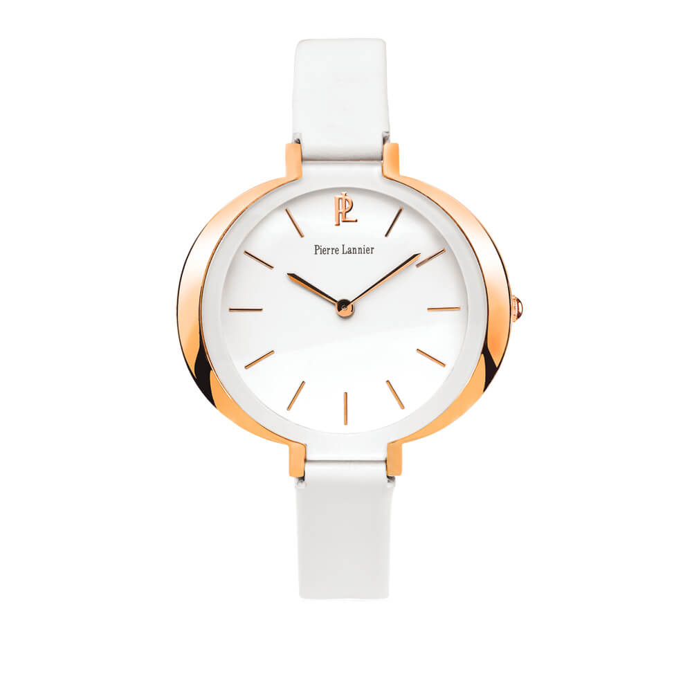 Ladies  rose watch with white leather strap PIERRE LANNIER 035Q900 ... d06c567f058