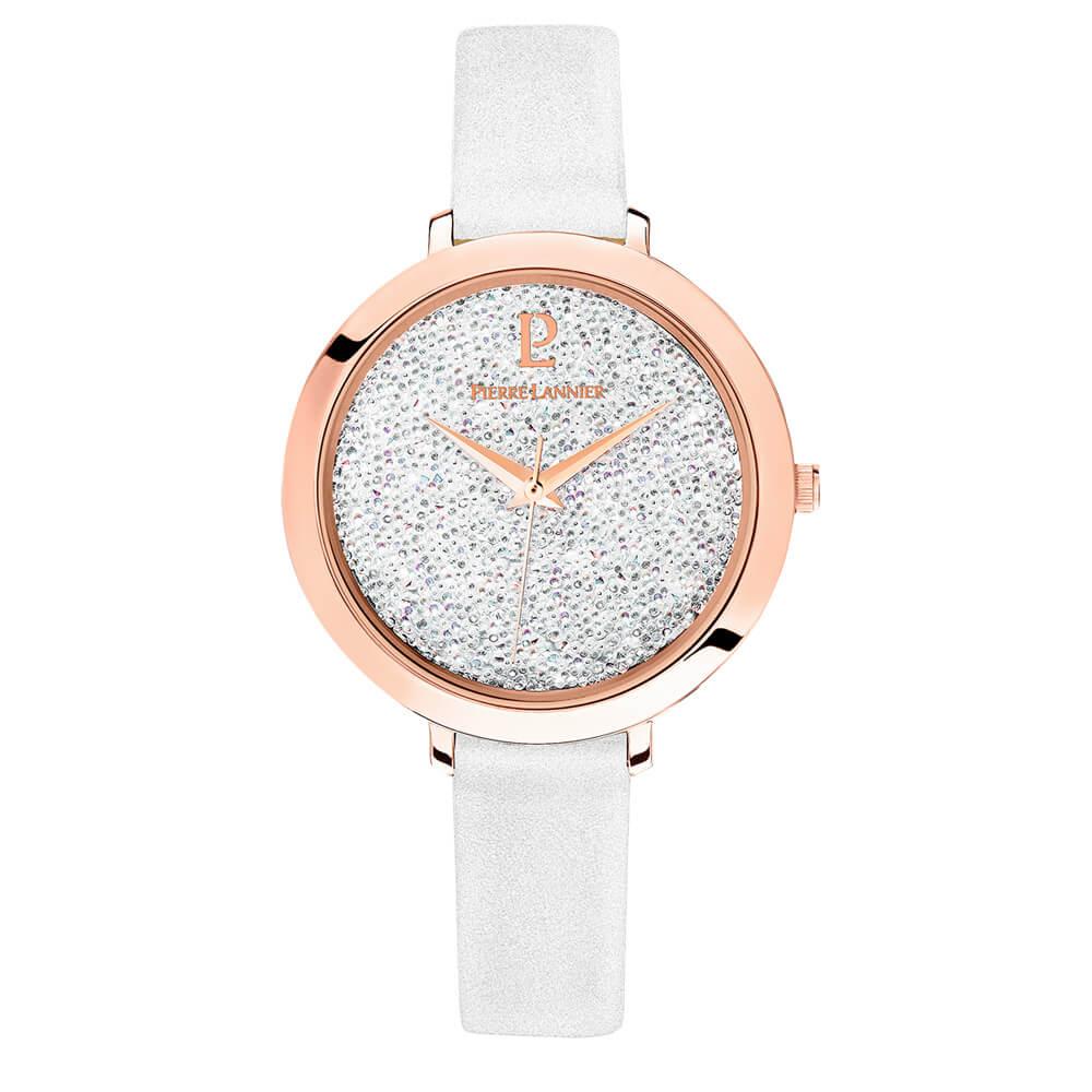 Γυναικείο ρολόι ροζ με λουράκι και swarovski στο καντράν PIERRE ... b69a0e6fc1e