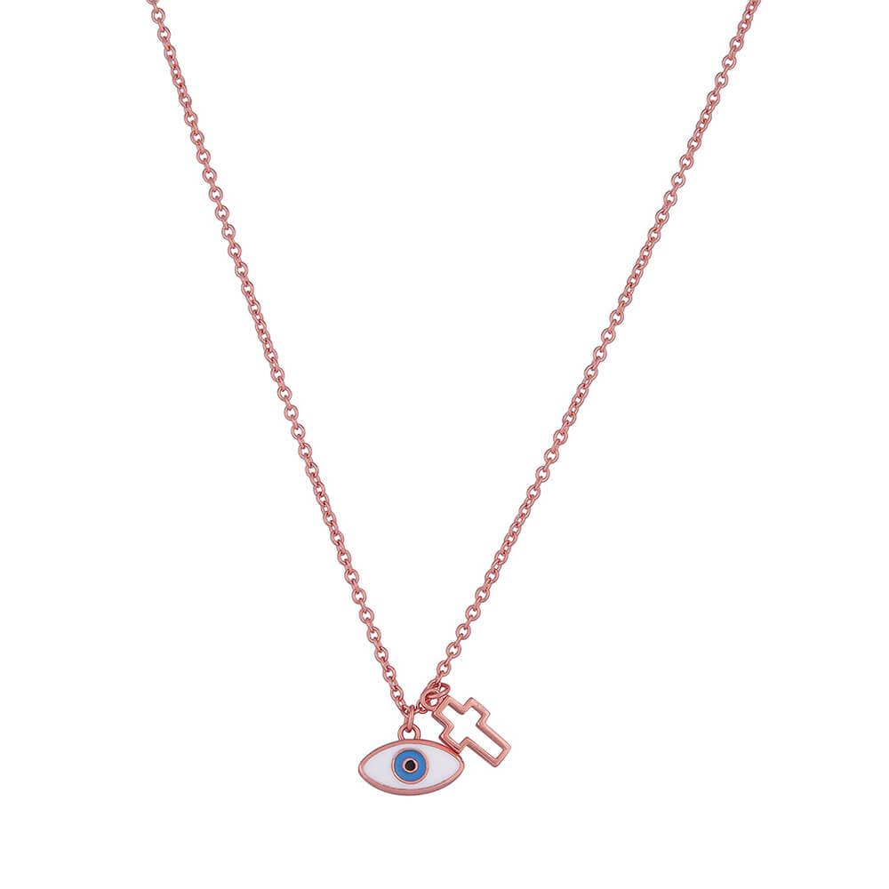 Κολιέ γυναικείο ασημένιο σε ροζ χρυσό με μάτι και σταυρό JOOLS ... 14e55b3d15e