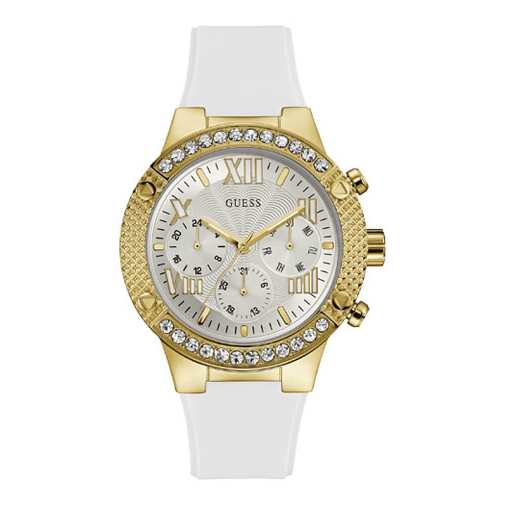 Γυναικείο ρολόι με λευκό λουράκι σιλικόνης GUESS W0772L6  4ac18346b01