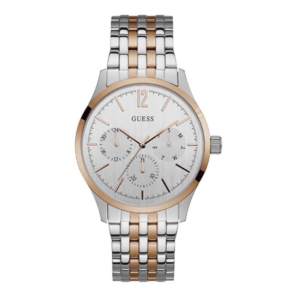 Unisex ρολόι με δίχρωμο μπρασελέ σε ασημί και ροζ χρυσό GUESS ... e0ee7e56528